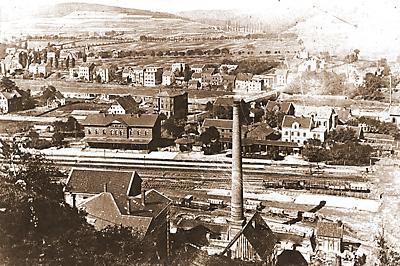 Letmather Bahnhof und Teilansicht von Letmathe vor 1892