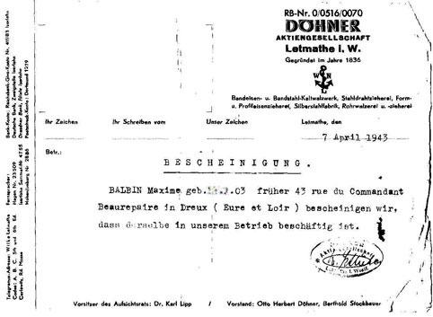 Bescheinigung der Firma Döhner für Maxime Balbin