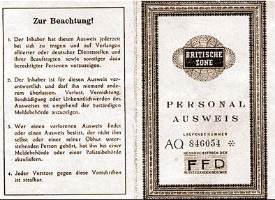 Britischer Personalausweis eines Deutschen in der Besatzungszeit