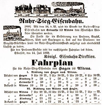 Erster Fahrplan der Ruhr-Sieg-Bahn von 1860